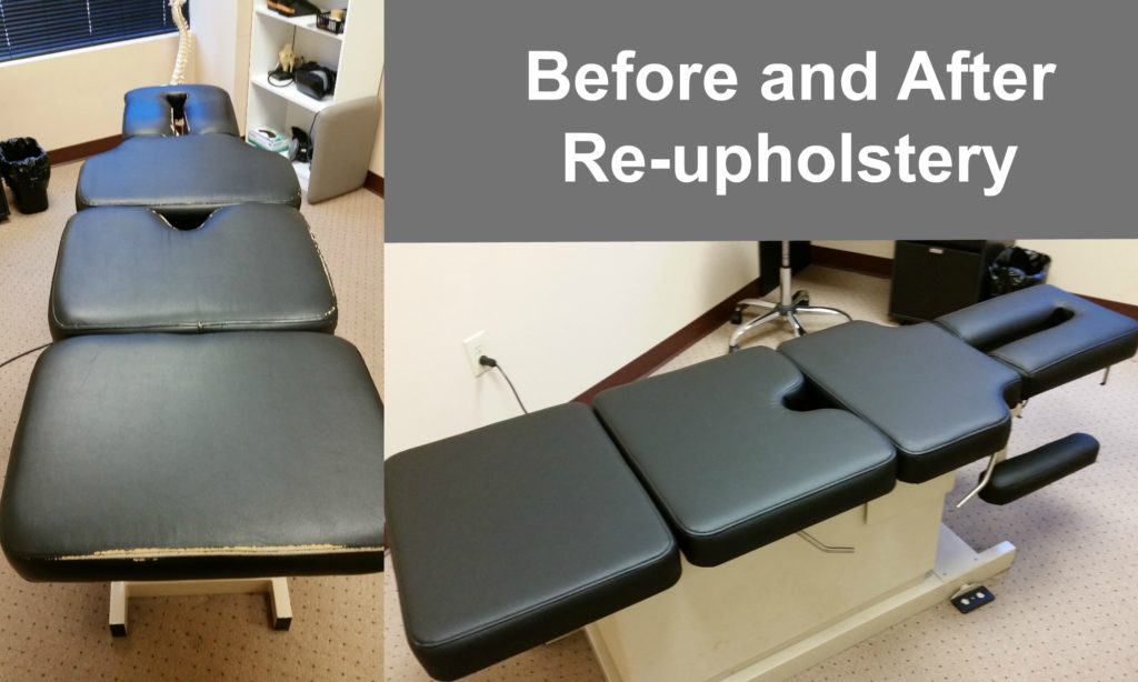 And here for leather-like upholstery options.Email us @ info@chiro-serve.com with a photo of your adjusting or therapy table if you are interested in a ... & Chiropractic Table Upholstery Repair